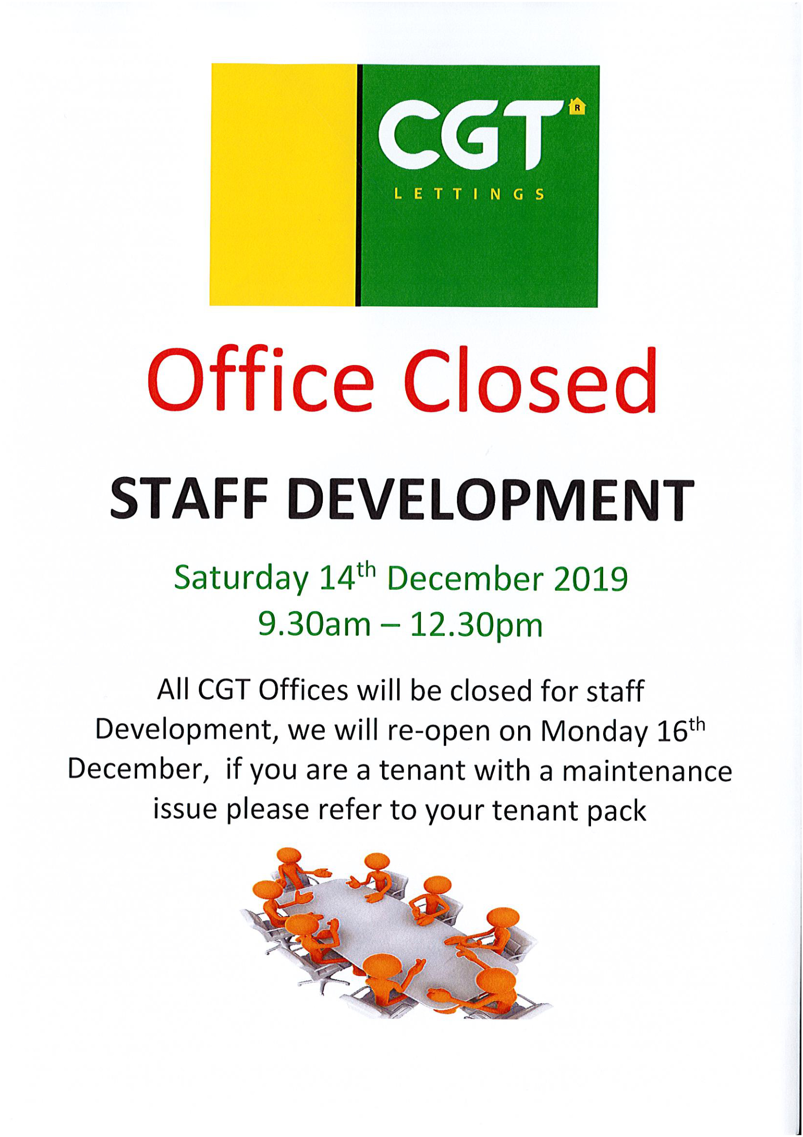 Office Closed - Staff Development - Sat 14th December 9:30am to 12.30pm